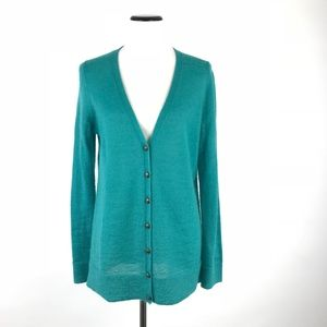 Talbots Teal Mohair Blend Cardigan Sweater M #641